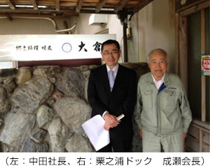(左:中田社長、右:栗之浦ドック 成瀬会長)